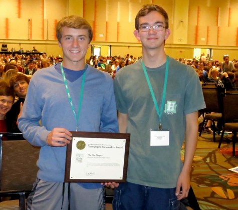 Staff members from The Harbinger from Shawnee Mission East High School earn a Pacemaker award for newspaper at the Orlando NSPA/JEA convention November 14, 2015.