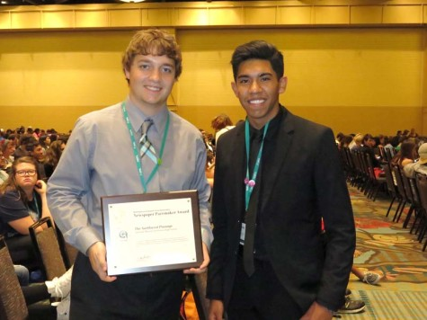 Staff members from Northwest Passage from Shawnee Mission Northwest High School earn a Pacemaker award for newspaper at the Orlando NSPA/JEA convention November 14, 2015.