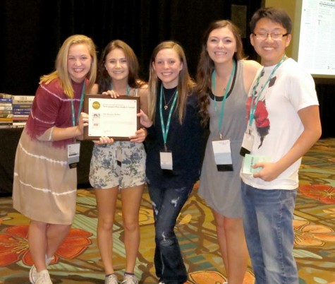 Staff members from Booster Redux from Pittsburg High School earn a Pacemaker award for newspaper at the Orlando NSPA/JEA convention November 14, 2015.