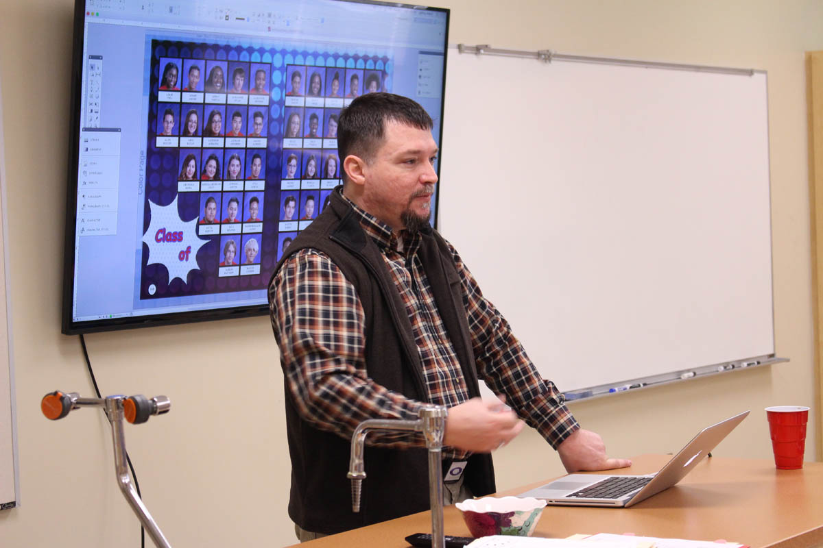 Jeff Welch, adviser from Wichita High School South, at the KSPA Middle School workshop April 1, 2017 at Derby North Middle School.